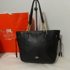 Coach Leather Elle Chain Tote in Black NWT